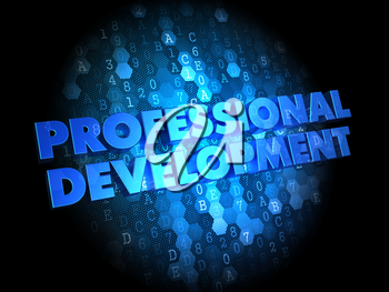 Professional Development in Blue Color on Dark Digital Background.