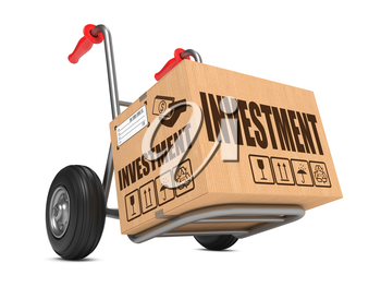 Investment - Cardboard Box on Hand Truck Isolated on White Background.