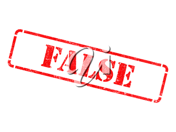 False - Inscription on Red Rubber Stamp Isolated on White.