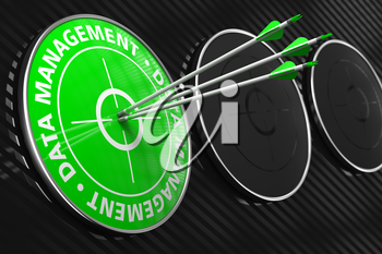 Data Management - Three Arrows Hitting the Center of Green Target on Black Background.