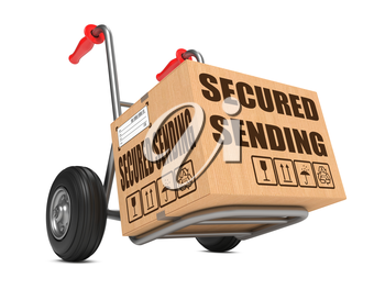 Cardboard Box with Secured Sending Slogan on Hand Truck Isolated on White.