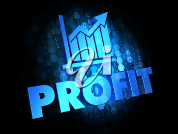 Profit Concept - Blue Color Text on Dark Digital Background.