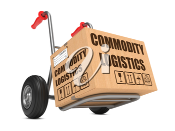 Cardboard Box with Commodity Logistics on Hand Truck White Background.