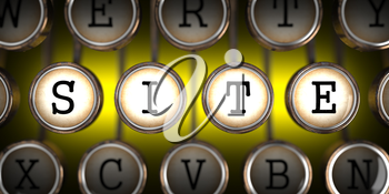 Site on Old Typewriter's Keys on Yellow Background.