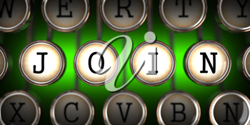 Join on Old Typewriter's Keys on Green Background.
