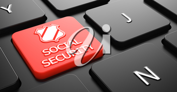 Social Security with Shield Icon - Red Button on Black Computer Keyboard.
