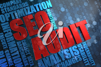 SEO Audit - Red Main Word with Blue Wordcloud on Digital Background.