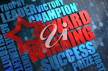 Award Winning - Red Main Word with Blue Wordcloud on Digital Background.