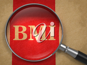 BMI concept. Magnifying Glass on Old Paper with Red Vertical Line Background.