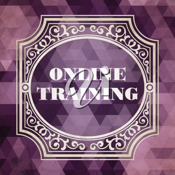Online Training Concept. Vintage design. Purple Background made of Triangles.