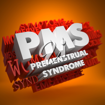 PMS - Premenstrual Syndrome - the Words in White Color on Cloud of Red Words on Orange Background.
