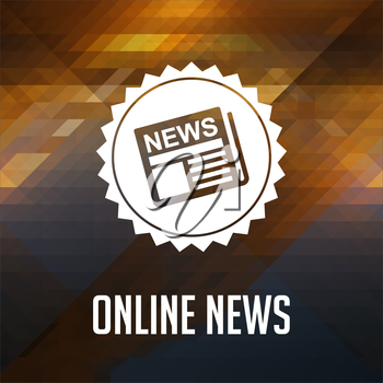 Online News. Retro label design. Hipster background made of triangles, color flow effect.