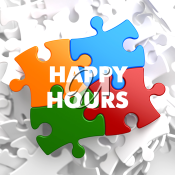 Happy Hours on Multicolor Puzzle on White Background.