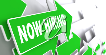 Now Hiring Concept. Green Arrows on a Grey Background Indicate the Direction.