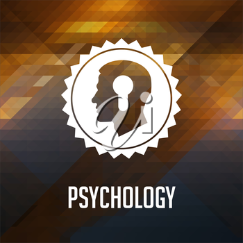Psychological Concept. Retro label design. Hipster background made of triangles, color flow effect.