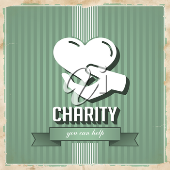 Charity with Icon of Heart in Hand on Green Striped Background. Vintage Concept in Flat Design.