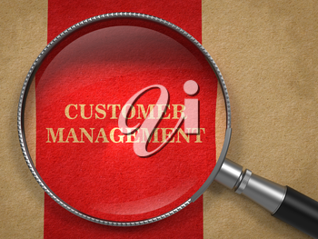 Customer Management Concept. Magnifying Glass on Old Paper with Red Vertical Line Background.