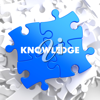 Knowledge on Blue Puzzle on White Background.