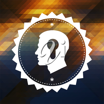 Profile of Head with a Keyhole Icon. Retro label design. Hipster background made of triangles, color flow effect.