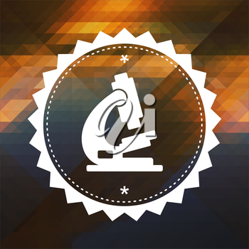 Microscope Icon. Retro label design. Hipster background made of triangles, color flow effect.