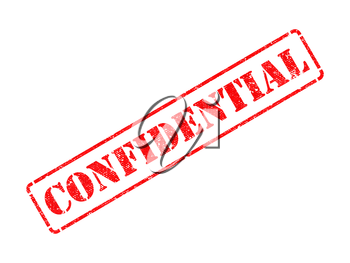Confidential - Inscription on Red Rubber Stamp Isolated on White.