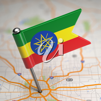 Small Flag Federal Democratic Republic of Ethiopia on a Map Background with Selective Focus.