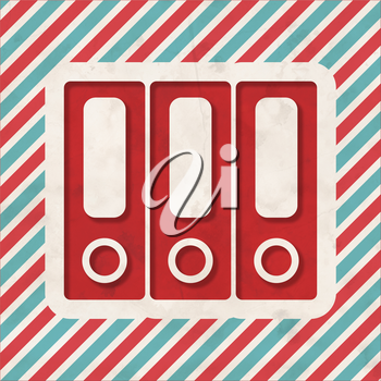 Data Concept on Red and Blue Striped Background. Vintage Concept in Flat Design.