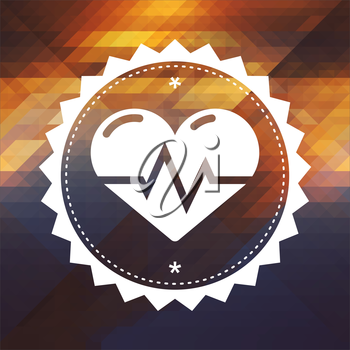 Heart with Cardiogram Line. Retro label design. Hipster background made of triangles, color flow effect.