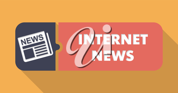 Internet News Concept on Orange in Flat Design with Long Shadows.