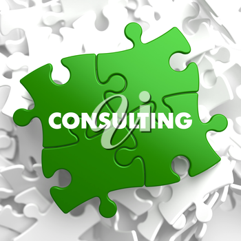 Consulting on Green Puzzle on White Background.