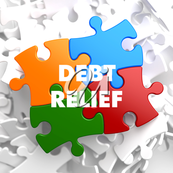 Debt Relief on Multicolor Puzzle on White Background.