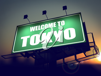 Welcome to Tokyo - Green Billboard on the Rising Sun Background.