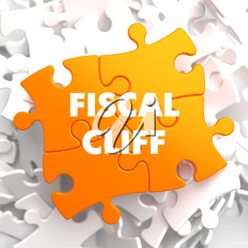 Fiscal Cliff on Orange Puzzle on White Background.
