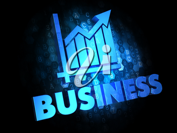 Business Concept - Blue Color Text with Growth Chart Icon on Dark Digital Background.