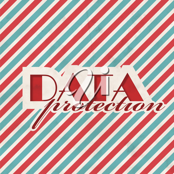 Data Protection Concept on Red and Blue Striped Background. Vintage Concept in Flat Design.
