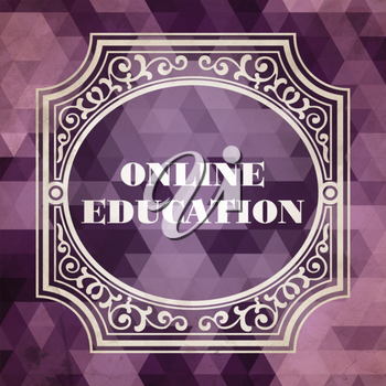Online Education Concept. Vintage design. Purple Background made of Triangles.