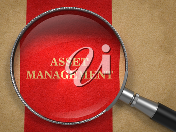 Asset Management. Magnifying Glass on Old Paper with Red Vertical Line.