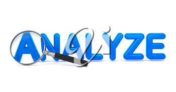 Analyze - Blue 3D Word Through a Magnifying Glass on White Background.