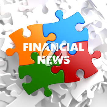 Financial News on Multicolor Puzzle on White Background.
