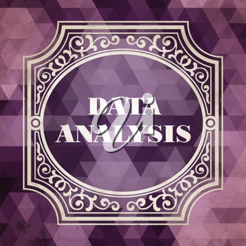 Data Analysis Concept. Vintage design. Purple Background made of Triangles.