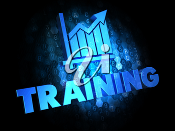 Training Concept - Blue Color Text on Digital Background.