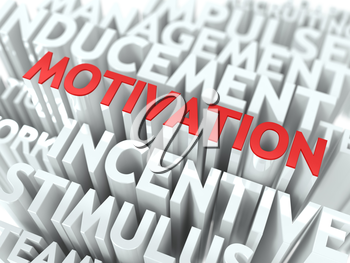 Motivation - Red Text on White Wordcloud.