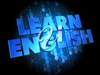 Learn English - Blue Color Text on Digital Background.