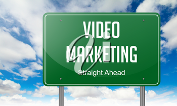 Highway Signpost with Video Marketing wording on Sky Background.