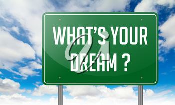 Highway Signpost with Whats Your Dream wording on Sky Background.