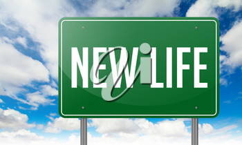 Highway Signpost with New Life wording on Sky Background.