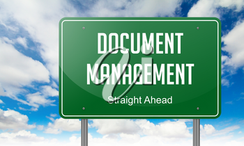 Highway Signpost with Document Management wording on Sky Background.