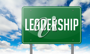 Highway Signpost with Leadership wording on Sky Background.