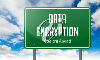 Highway Signpost with Data Encryption Wording on Sky Background.