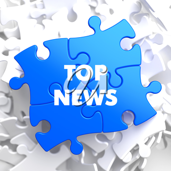 Top News on Blue Puzzle on White Background.
